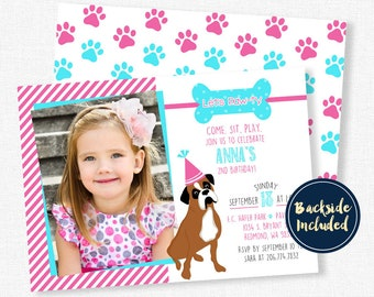 Puppy Dog Birthday Invitation, Boxer Dog Invitation, Puppy Party Invitation, Photo Invitations