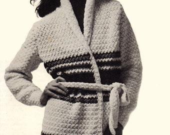 Crochet Pattern, Womens Long Sweater Coat Crochet Pattern, Sash Tied Sweater Pattern, INSTANT Download Pattern PDF (1111)