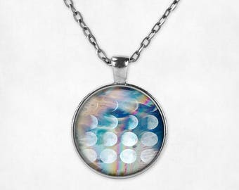 Phases of the Moon Pendant Necklace - Moon Phases Necklace Moon Necklace Moon Jewelry Vaporwave VHS Pastel Goth Pastel Grunge Galaxy