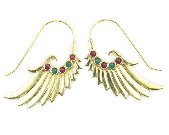 Angel Stone Wing Earrings, Wing Earrings, Biker Jewelry, Tribal Earrings, Festival Jewelry, Gypsy Earrings, Ethnic