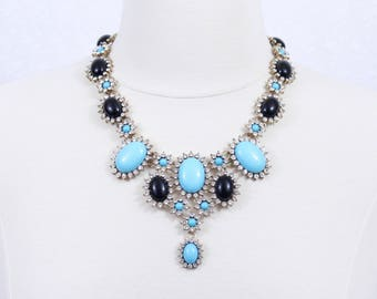 Blue and Black Rhinestone Floral Necklace Carolina Blue Statement Necklace Chunky Necklace