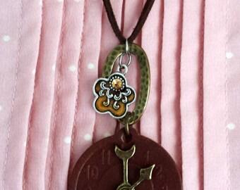 Leather Clock Pendant Necklace