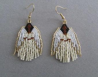 Beaded Angel Earrings in Ivory