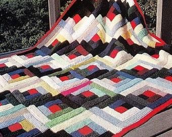 PDF Log Cabin Afghan Knitting Pattern – Vintage, Retro, Afghan, Blanket, Throw, Bedspread - PDF instant download