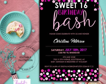 Sweet 16 Birthday Party Invitation Template, DIY Editable Sweet 16 Birthday, 16th Birthday, Digital Download, Pink Black White Polka Dots
