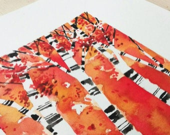 Birch trees painting, Original watercolour on paper, 23x23cm, made by TideGifts