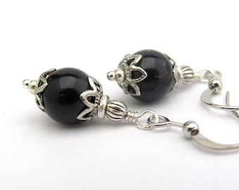 Jet Black Pearl Earrings Swarovski Crystal Pearls, Dainty Dangle Classic Woman Office Casual Silver Plated Antiqued Petite Gift For Mom