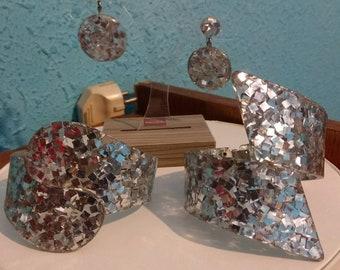 50s silver lucite confetti clamper set