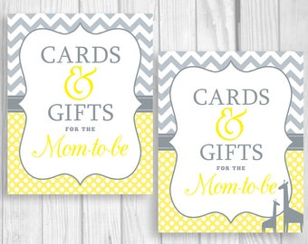 SALE Cards and Gifts for the Mom-to-Be 8x10 Printable Baby Shower Sign Yellow and Gray Chevron Polka Dots, Giraffes Optional