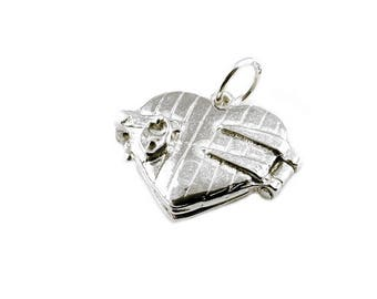 Sterling Silver Opening Lover's In Heart Locket Charm For Bracelets