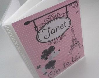 Photo Album Girl brag book Baby photo album Personalized photo album Bridal Baby Shower Gift Paris pink black french poodle 4x6 or 5x7 114
