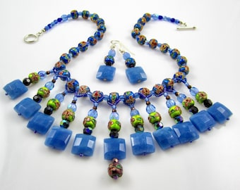 Blue Enamel & Blue Quartz Necklace with drops