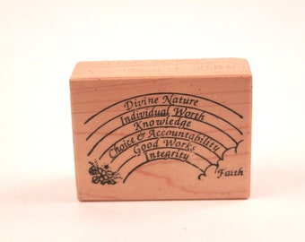 Young Women Virtues LDS Mormon Rainbow Vintage Rubber Stamp - Card Making - Crafts ~ 161026A