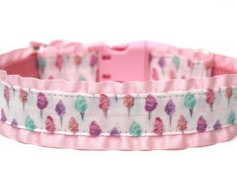 """Pink Dog Collar 1"""" Cotton Candy Dog Collar With or Without Ruffles"""
