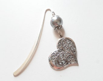 Pretty gray Pearl and silver heart bookmark