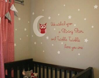 Owl Wall Decal, Nursery Wall Decals, Owl Vinyl Decals, Owl Nursery, Girl Bedroom, Boy Nursery Wall Decor, Owl on Moon Large Set