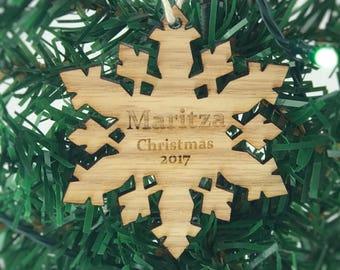 Custom Ornament - Engraved Ornament - Snowflake Ornament - Personalized Ornament - Christmas Ornament - Wood Ornament - Christmas Gift