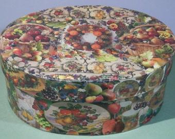 "8"" x 6"" Oval Decoupage Fruit Theme Box Paper Mache Jewelry Trinket Keepsake Holder Ecofriendly Original Artwork Decoration Collage OOAK Gift"