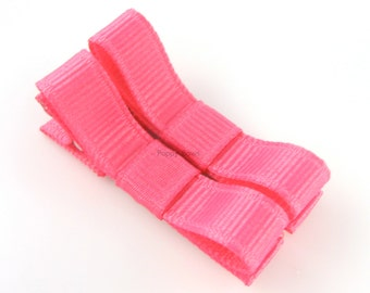 Hot Pink Hair Clips Basic Tuxedo Bow - Set of 2 - Matching Pair Alligator Barrettes for Babies Toddlers Girls