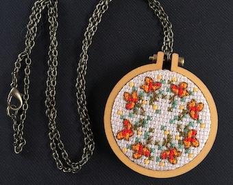 Autumn Leaves Cross Stitch Necklace