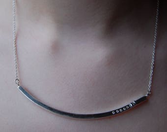 White sapphire stones and sterling silver curvy Bar Necklace