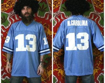 North Carolina Tarheels Football Jersey. NCAA Powder Blue UNC Tarheels Number 13 Stitched Football Jersey. University Of North Carolina