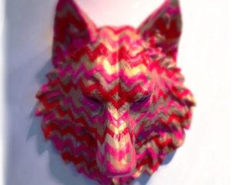 Candy Wolf |  Animal Head Paper Art Wallpaper Sculpture