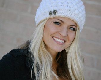 Women's/Girl's Bobble Stitch Crochet Hat Pattern (PDF FILE)