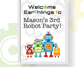"""Robot Party Printable Welcome Sign 