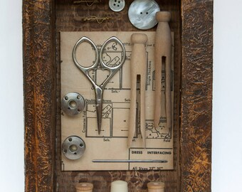 Assemblage Art Book - Altered Book Art - Vintage Sewing