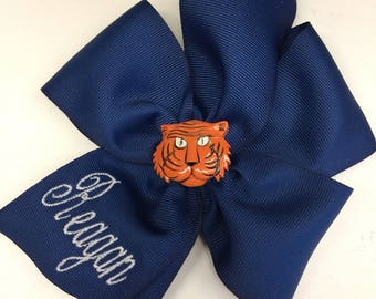 Tiger Name, Hair Bow, Any Name, Monogrammed, Auburn Tigers, School Uniform, Navy Blue, Girls Gift, Large Hairbows, Custom Boutique, Monogram