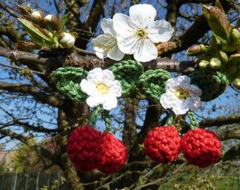 Red cherry earrings crochet