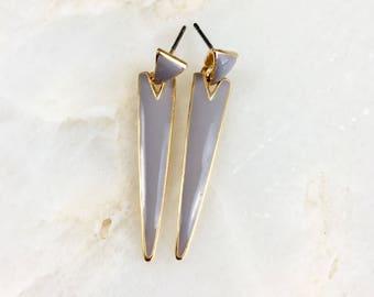Vintage Purple Enamel Earrings