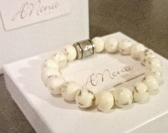 """Bracelet For Men : Resin & Silver Plated Copper """" I Am Connected """"  By ANena Jewelry"""
