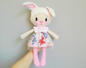 Plushie bunny baby doll nursery decor plush toy handmade rag doll stuffed animal cloth doll fabric doll baby shower gift stuffed bunny doll