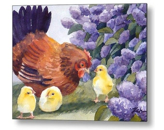 Hen and Chicks Chicken Art Print on Wood Printed Watercolor Wall Art by Janet Zeh Zehland