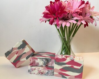 Pink Camo Creamy Lather soap | Sun-Dried Cotton Scent | Handcrafted Soap | Skin Loving Soap | Woman Power