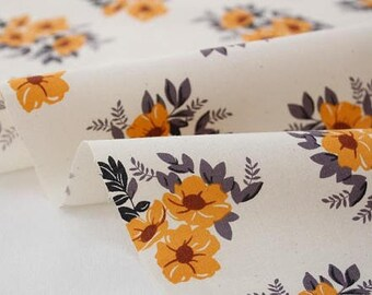 Mustard Colour Flower Pattern, Cotton Fabric, by Yard