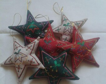 Silk Christmas ornaments Hand Embroidered Christmas ornaments, star decoration,Star Christmas ornaments