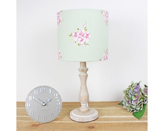 Pink & Sage Green Floral Pretty Vintage Shabby Chic Drum Lampshade Country Light Shade