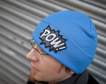Beanie Cap, POW, Comic Book Hat, Various Colours with Grey and White Pow