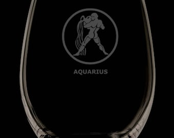 13 Ounce Aquarius Personalized Stemless Wine Glass