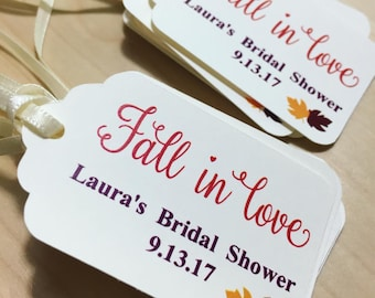 Fall in Love Favor Tags(Fall Leaves),Fall Wedding Favor Tags,Wedding Favor Tags,Custom Favor Tags