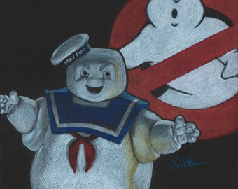 Drawing Print of Stay Puft Marshmallow Man from Ghostbusters