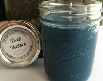 Deep Waters | 12 oz Scented Soy Candle Jar | wide mouth pint mason jar | clean + fresh