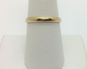 14k Yellow Gold Women's Domed Wedding Band Ring Size 8 Estate