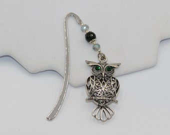 Bookmark, Green Beaded Owl Charm Bookmark