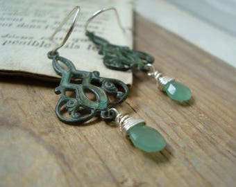 Green Filigree Earrings With Chalcedony. Patina Silver Jewelry Bridesmaid Jewelry Vintage Style Bridal Weddings Art Nouveau Mothers Day
