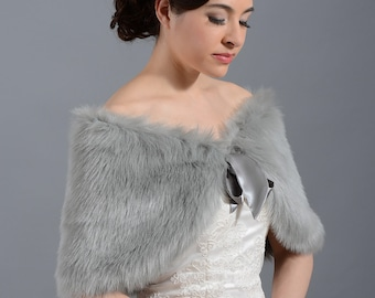 Silver faux fur shawl faux fur wrap faux fur shrug faux fur stole C002-Silver