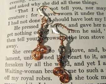 Item 2198 Silver and Copper wire wrapped Earrings